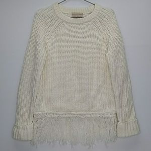Moon River Cream Sweater Fringe Chunky Knit Size M